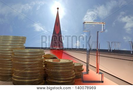 Time is money. Sundial with coins. 3D illustration