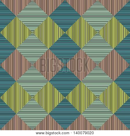 Seamless pattern. Abstract. Colorful linen squares. Simple texture. Various lines. Rectangular shapes. Pattern fills. For decoration or printing on fabric.