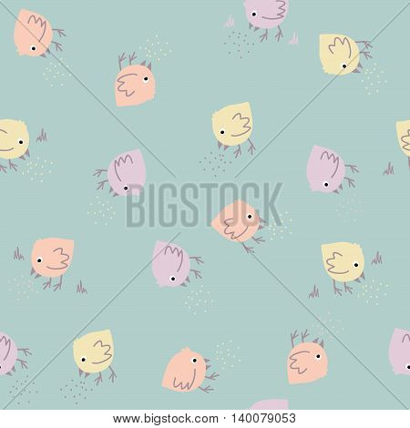 Pastel pattern with cute birds. Seamless. Hand drawn. Animal background in modern pastel colors. Birds eating.  Can be used for wallpapers, pattern fills, web page backgrounds, surface textures.