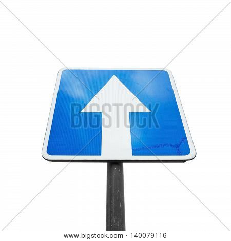 One Way Street, Square Blue Road Sign Isolated