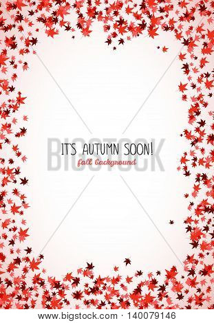 Vertical frame made from red maple leaves. Copy space. Background of autumn leaves. Frame for text. Momiji. Autumn concept. Vector illustration.