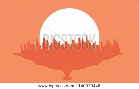 Beautiful silhouette city and big moon scenery