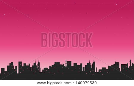 Silhouette of city and sky beautiful illustration