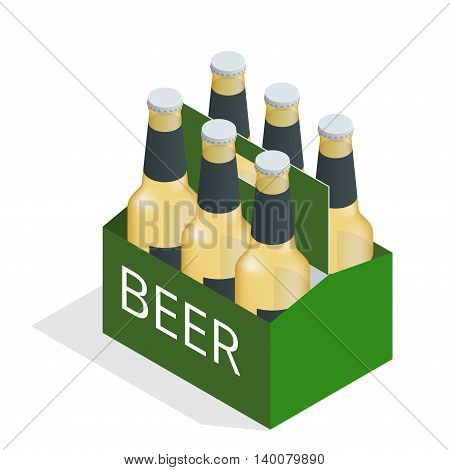 Vector color isometric icon with case of beer with six beer bottles. Flat 3d vector isometric illustration