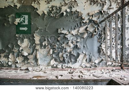 peeled paint on the wall of a desolate building in abandoned Pripyat. Chernobyl zone
