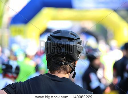 Cyclist Safety Helmet During The Event