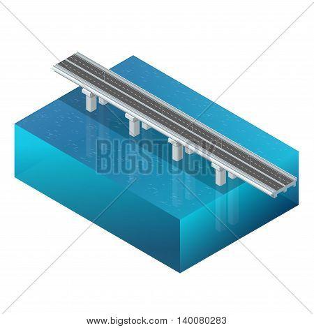 Bridge over the river, design, unit structure. 3d concept. Bridge construction. Vector flat 3d isometric illustration