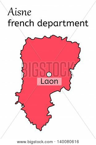 Aisne french department map on white background