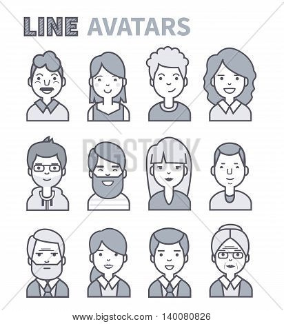 Cute avatars. Characters of different ages. Vector line style icons isolated.