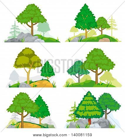 Landscapes with coniferous and deciduous trees, grass and rocks. Vector set of nature landscape with tree and rock, illustration forest tree coniferous