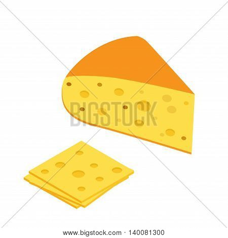Piece of cheese icon in isometric. Flat 3d style vector on a white background.