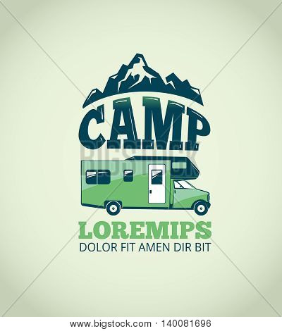 Camping wilderness adventure vector background. Logo for camp and illustration emblem with trailer for camp