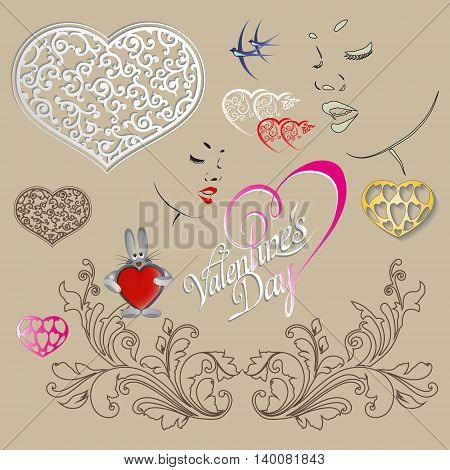 vector illustration of Valentine's Day holiday with a delicate feminine profile, heart, swallows, signed and Bunny holding heart