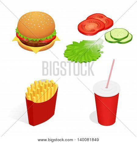 Vector illustration of isometric food burger, French fries, cola, cucumber, tomato, lettuce. Fast food concept Tasty snack