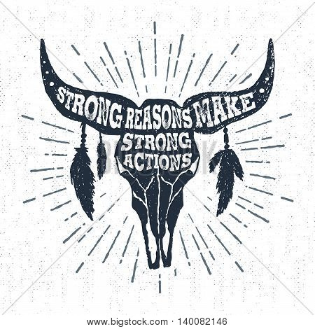 Hand drawn tribal label with textured buffalo skull vector illustration and