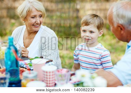 Boy and grandparents