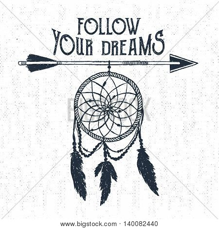 Hand drawn tribal label with textured dream catcher vector illustration and