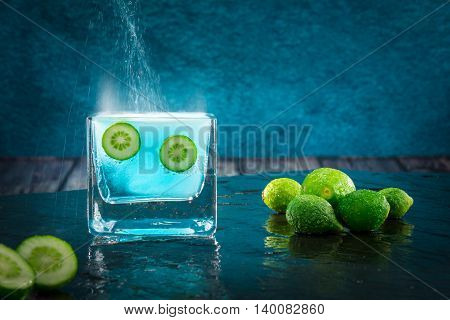 Limes, Citrus Fruit Dipped In An Effervescent Liquid