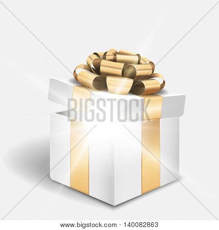 Vector open gift box with shiny light