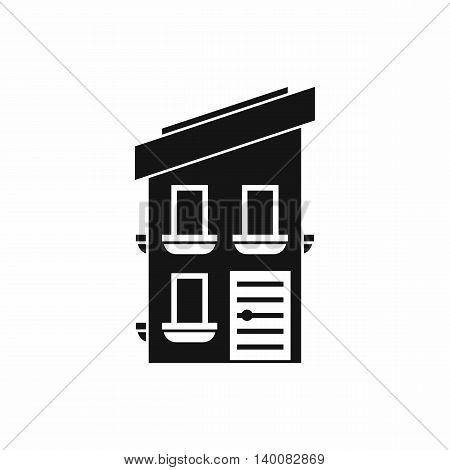 Two-storey house icon in simple style isolated on white background. Structure symbol
