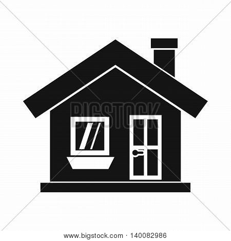 One-storey house with a chimney icon in simple style isolated on white background. Structure symbol