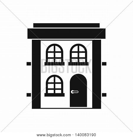 Two-storey residential house icon in simple style isolated on white background. Structure symbol