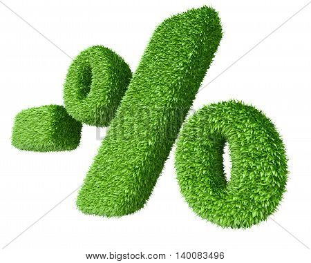 Percentage sign covered by grass. Isolated on white background 3d image.