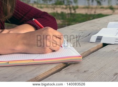 girl in a burgundy sweater is sitting at the large wooden table in the nature and write in the notebook, bushes, sky and water in the background, evening, lying next to a book