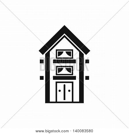 Two-storey house with balconies icon in simple style isolated on white background. Structure symbol