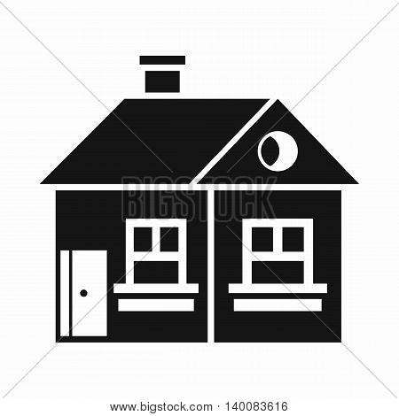 Large single-storey house icon in simple style isolated on white background. Structure symbol