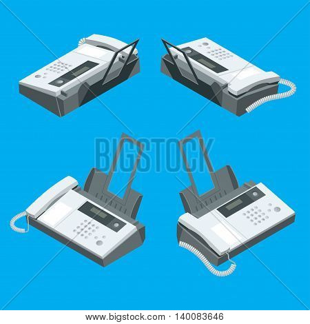 Fax machine, office equipment. Flat 3d vector isometric illustration