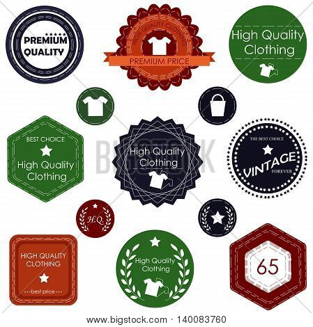 Set of badges and labels for clothing and other accessories in retro style