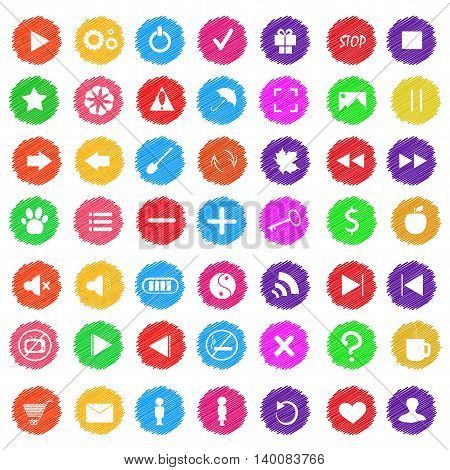 Set of colored abstract icons for game design or website. It can be used as a design buttons for the music player and a child learning lesson