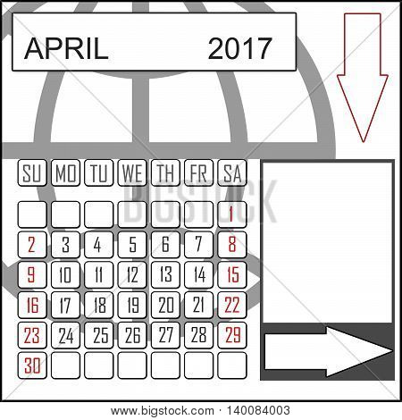 Abstract design 2017 calendar with note space for april month