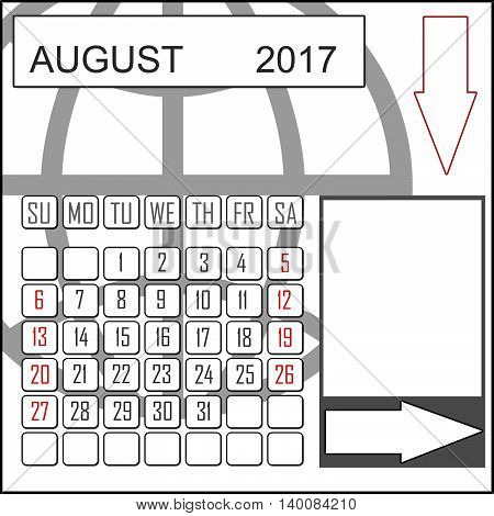 Abstract design 2017 calendar with note space for august month