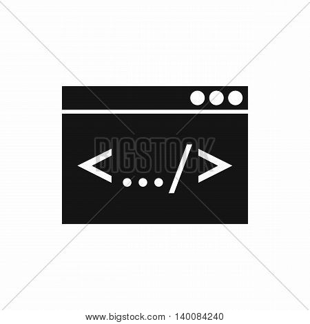 Code window icon in simple style isolated on white background