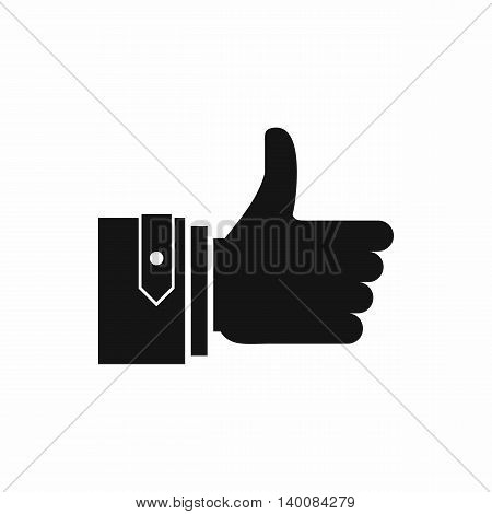 Thumbs up icon in simple style isolated on white background