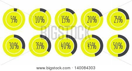 Vector Infographics 5% 10% 15% 20% 25% 30% 35% 40% 45% 50% yellow and grey Pie Charts isolated on white