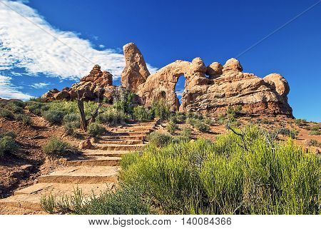 Visit Arches and discover a landscape of contrasting colors, landforms and textures unlike any other in the world. The park has over 2,000 natural stone arches, in addition to hundreds of soaring pinnacles, massive fins and giant balanced rocks.