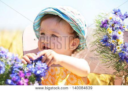 Cute baby girl in summer meadow