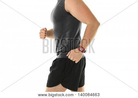 Running man with pulsometer, isolated on white