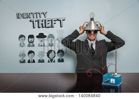 Identity Theft text with vintage businessman and machine at office