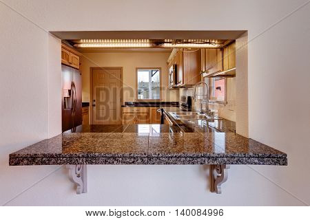 View Of Kitchen Room Interior With Granite Counter Top.