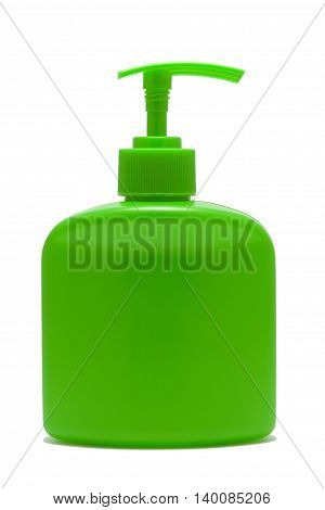 plastic green bottle with dispenser isolated background