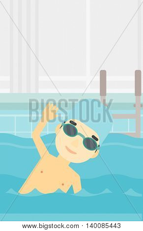 An asian young sportsman wearing cap and glasses swimming in pool. Professional male swimmer in swimming pool. Vector flat design illustration. Vertical layout.