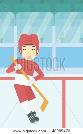 An asian female ice hockey player skating on ice rink. Professional ice hockey player with a stick. Sportswoman playing ice hockey. Vector flat design illustration. Vertical layout.