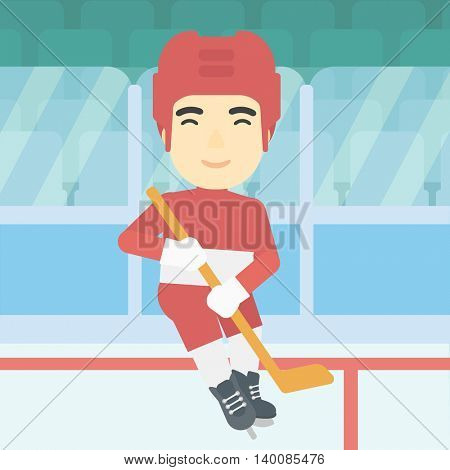 An asian ice hockey player skating on ice rink. Professional ice hockey player with a stick. Sportsman playing ice hockey. Vector flat design illustration. Square layout.