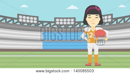 An asian young professional rugby player holding ball and helmet in hands. Female rugby player in uniform standing on rugby stadium. Vector flat design illustration. Horizontal layout.