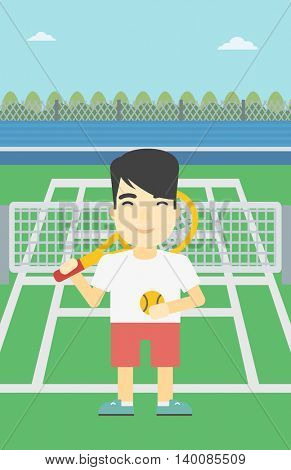 An asian tennis player standing on the tennis court. Male tennis player holding a tennis racket and a ball. Man playing tennis. Vector flat design illustration. Vertical layout.