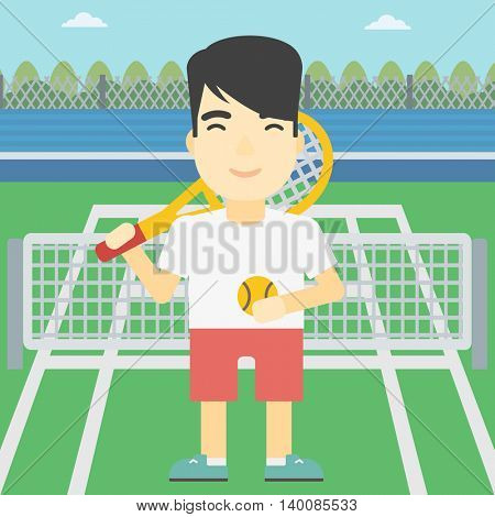 An asian tennis player standing on the tennis court. Male tennis player holding a tennis racket and a ball. Man playing tennis. Vector flat design illustration. Square layout.